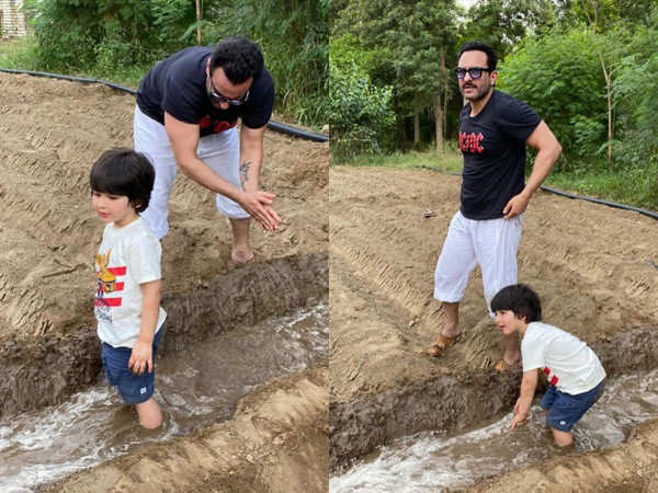Saif Ali Khan and Taimur Ali Khan enjoy a day of farming