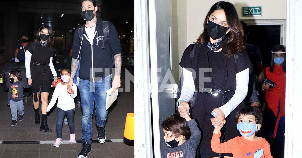 Back in town Sunny Leone returns to India with her family