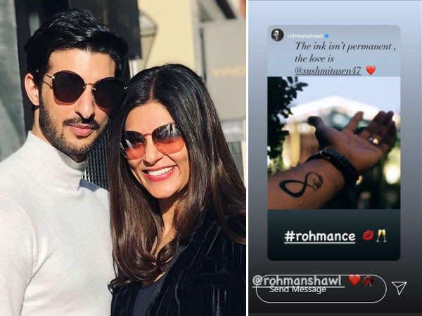 Rohman Shawl gets Sushmita Sen's name tattooed on his arm