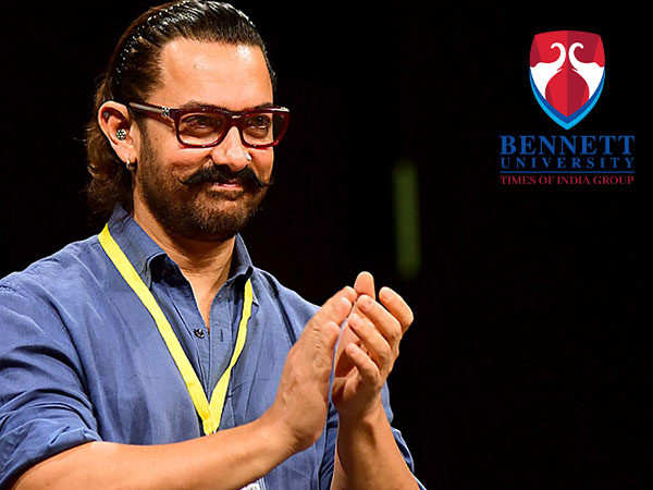 Aamir Khan interacts with the students of Bennett University during their convocation