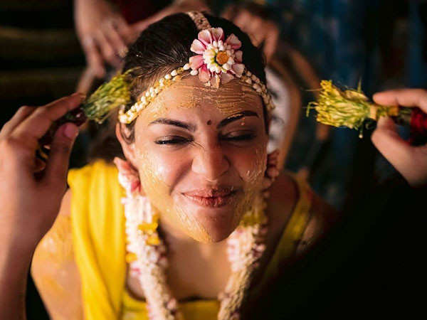 This cute picture of Kajal Aggarwal from her haldi ceremony is going viral