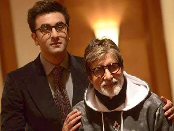 A young Ranbir Kapoor looks up at Amitabh Bachchan in awe - see picture