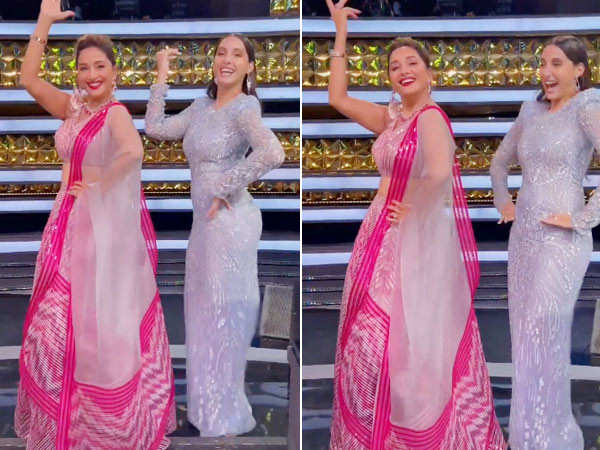Madhuri Dixit and Nora Fatehi dance to Mera Piya Ghar Aaya