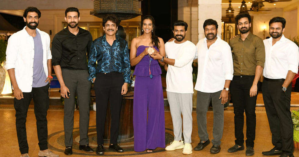 Chiranjeevi and Ram Charan host an event for Olympic medalist PV Sindhu