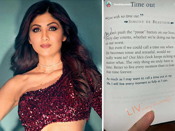 Shilpa Shetty Kundra Endorses A Quote Which Says Live With No Time Out!