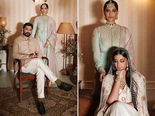 Sonam Kapoor Ahuja looks regal as she poses with newly-weds Rhea and Karan