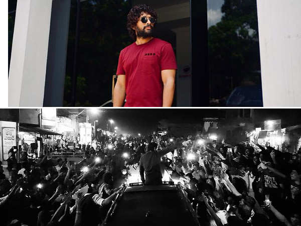 Fans go crazy as they spot their favourite star Allu Arjun in Rampachodavaram