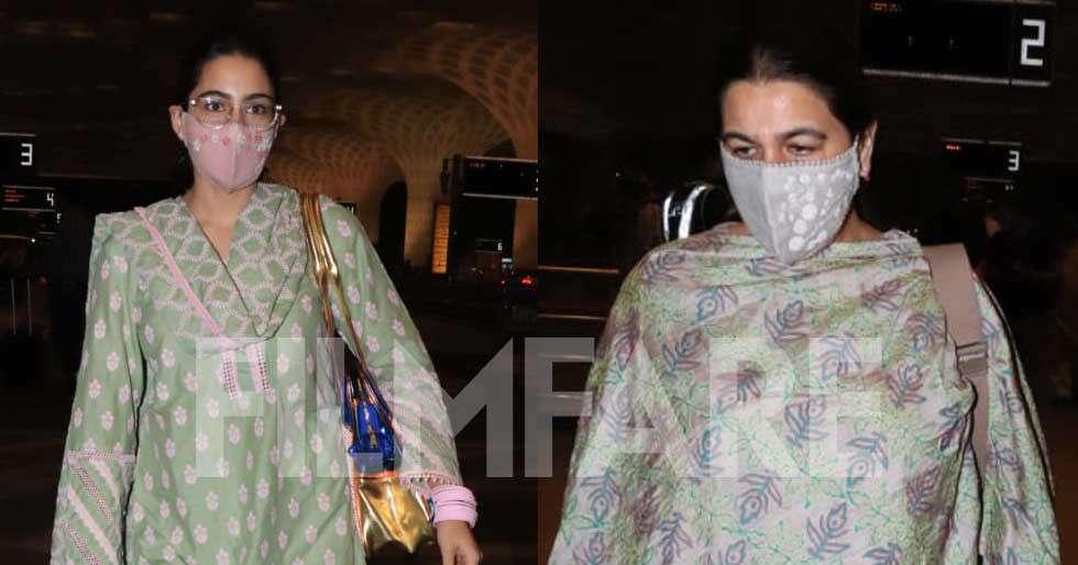 Sara Ali Khan clicked at the airport with mom Amrita Singh