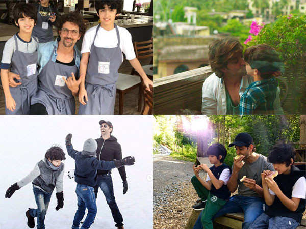 Endearing pictures of Hrithik Roshan with his sons
