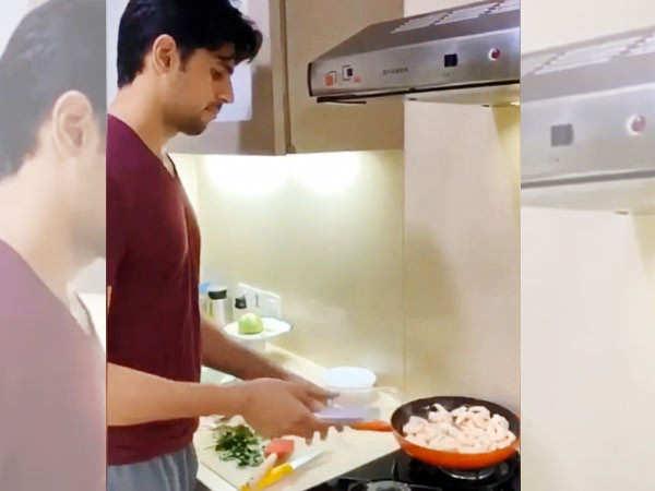 Throwback to Sidharth Malhotra cooking butter garlic prawns