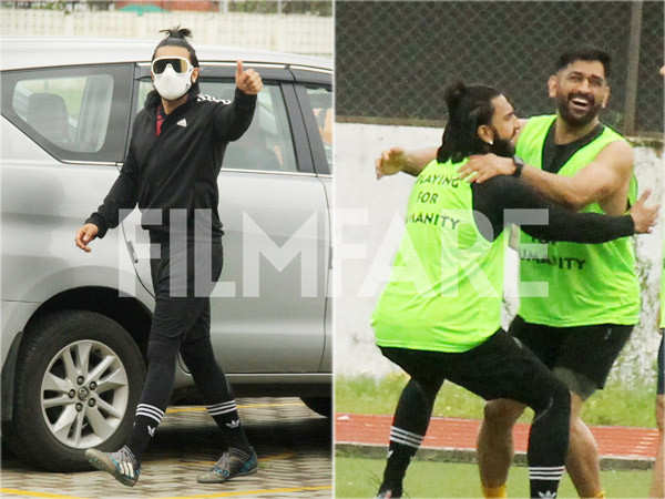 Photos: Ranveer Singh and MS Dhoni play football together