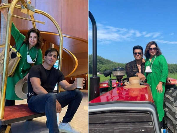 Sonu Sood and Farah Khan shoot for the reprised version of Tum To Thehre Pardesi