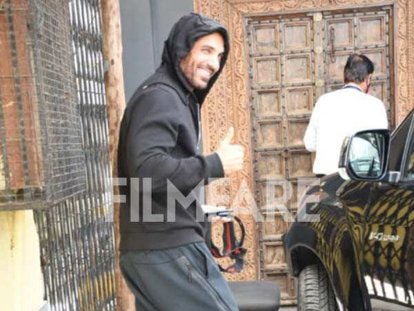 John Abraham clicked outside his gym