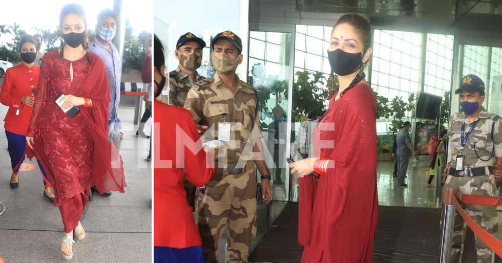 Yami Gautamâs looks radiant at the airport in Indian attire