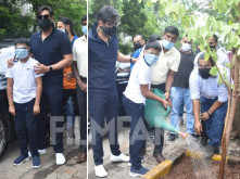 Photos: Ajay Devgn plants a tree with son Yug in the city
