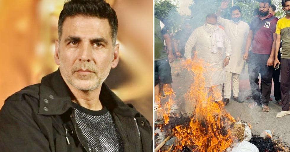 Akshay Kumarâs effigy burnt in Chandigarh as a protest against Prithviraj film title