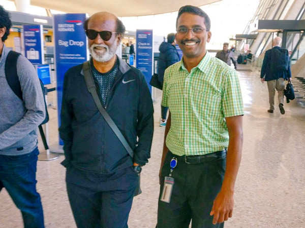 Rajinikanth snapped outside a clinic in the United States of America