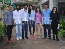 Team Hungama 2 catch up at a dubbing studio in Mumbai