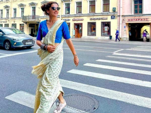 Taapsee Pannu takes to the streets of St. Petersburg in a cool saree