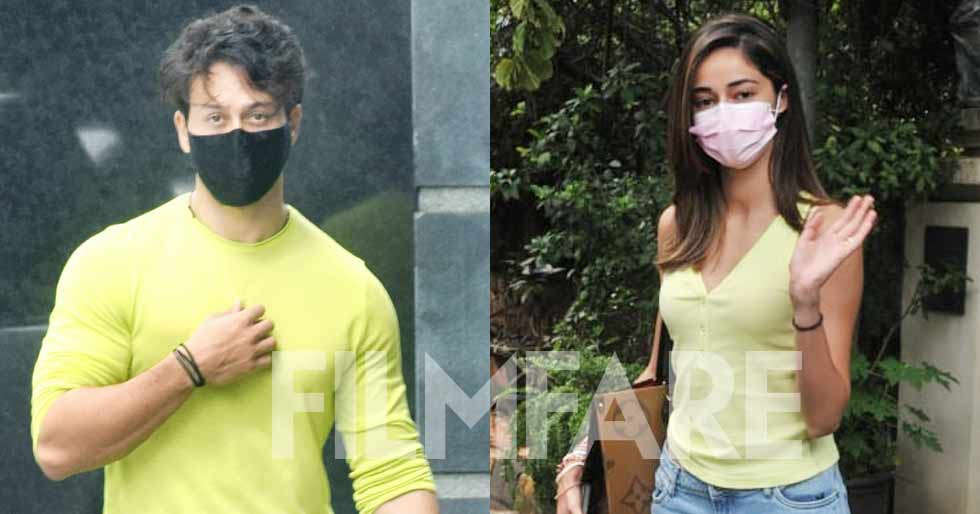 Ananya Panday and Tiger Shroff clicked sporting the same colour