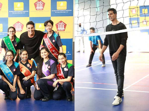 All pictures of Akshay Kumar visiting a school in the city today