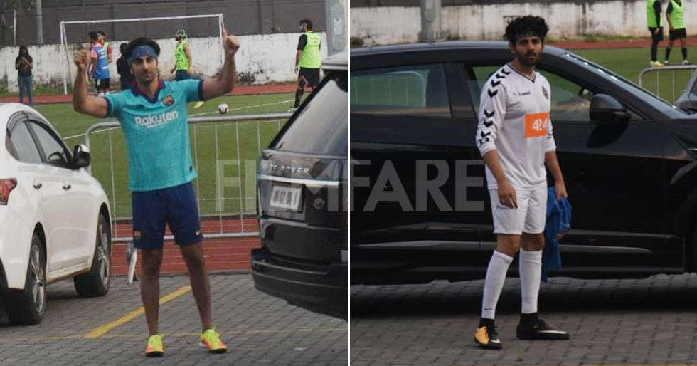 Ranbir Kapoor, Kartik Aaryan catch up for a football match