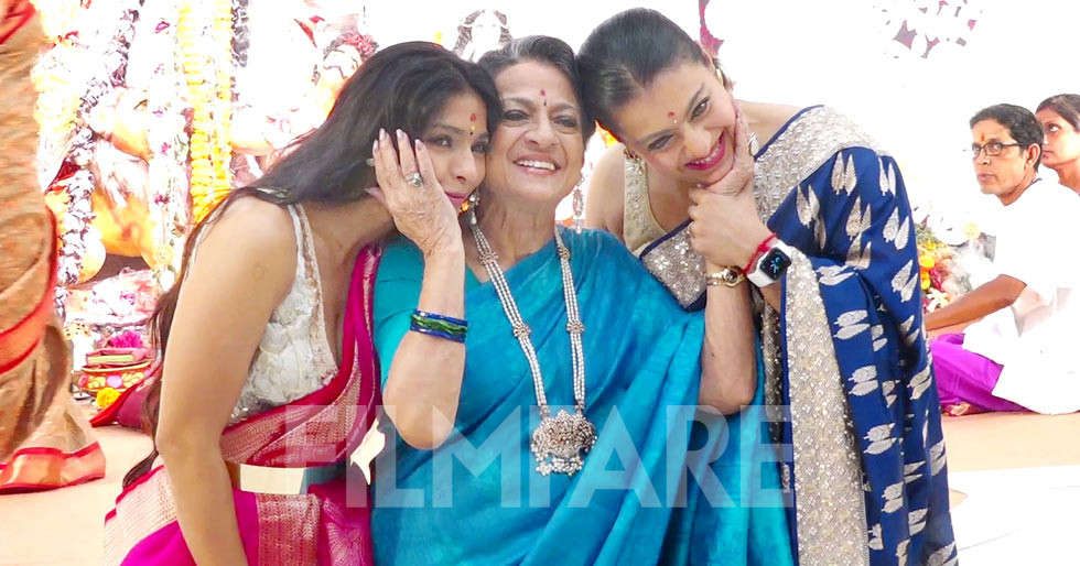 Photos: Kajol attends Durga Puja with her family
