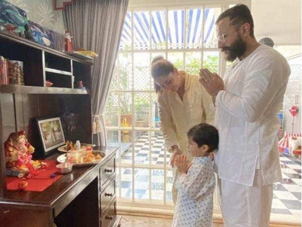 Kareena Kapoor Khan, Saif Ali Khan and Taimur welcome Lord Ganesha into their home