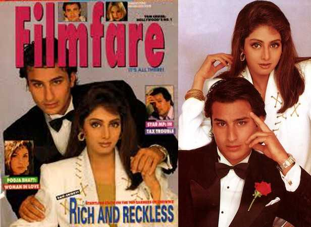 Saif Ali Khan with Sridevi on the cover