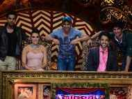 Stars of Kai Po Che! on the sets of a reality show