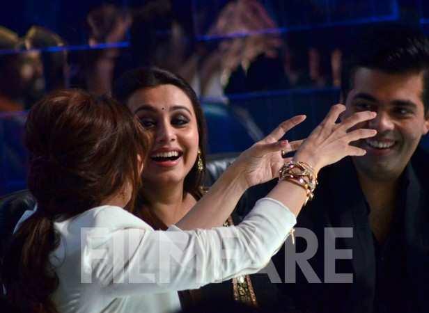 Madhuri Dixit-Nene, Rani Mukerji and Karan Johar