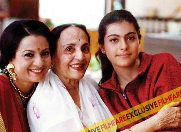 Kajol's grandmother was yesteryear actress Shobana Samarth and Tanuja is her mother. Tanuja married director Shomu Mukherjee who in turn is Ashok Kumar's nephew.
