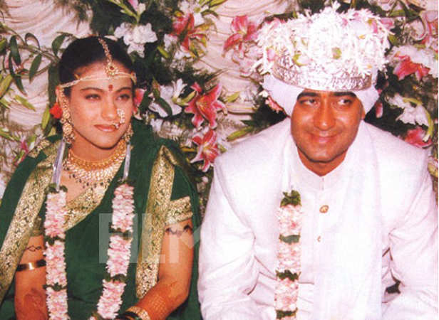 Kajol and Ajay Devgn on their wedding day