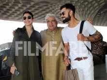 Lovebirds Anushka Sharma and Virat Kohli  run into Javed Akhtar
