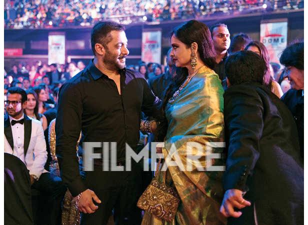 Salman Khan shares a moment with rekha