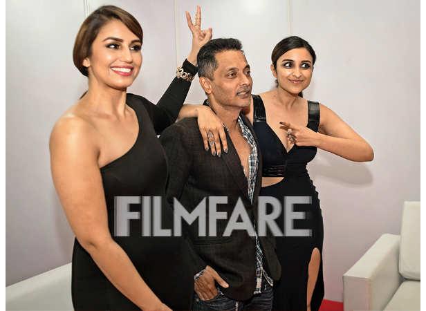 Huma Qureshi, Sujoy Ghosh and Parineeti Chopra pose for a fun shot