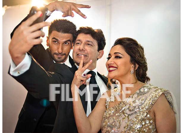 Ranveer Singh, Dr Sriram Nene and Madhuri Dixit take a selfie