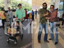Vivek Oberoi, Suneil Shetty and Gulshan Grover at the airport