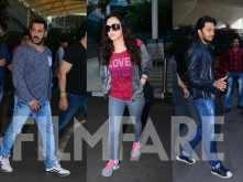 Salman Khan, Preity Zinta and Riteish Deshmukh's airport jaunt