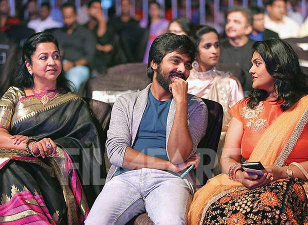 Radhika Sarathkumar, GV Prakash and Nirosha enjoy the show
