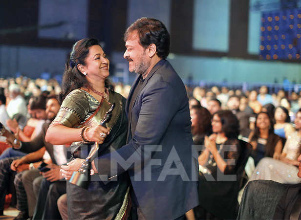 Radhika Sarathkumar is congratulated by Chiranjeevi