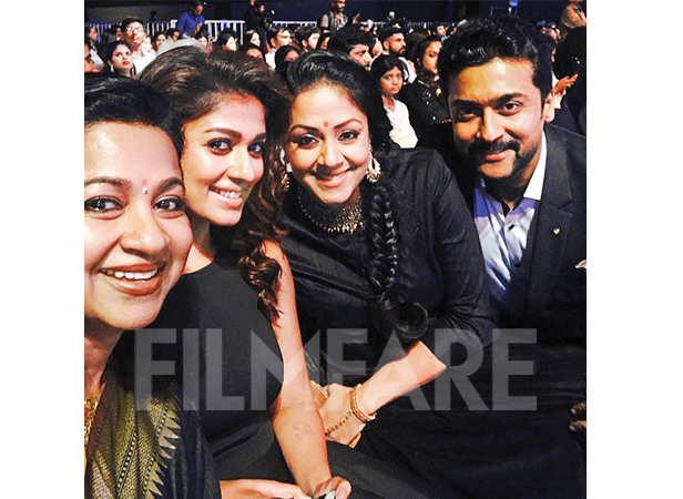 Radhika, Nayanthara, Jyotika and Suriya pose together