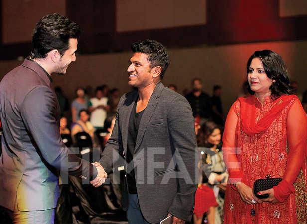 Akhil Akkineni is greeted by Puneeth Rajkumar