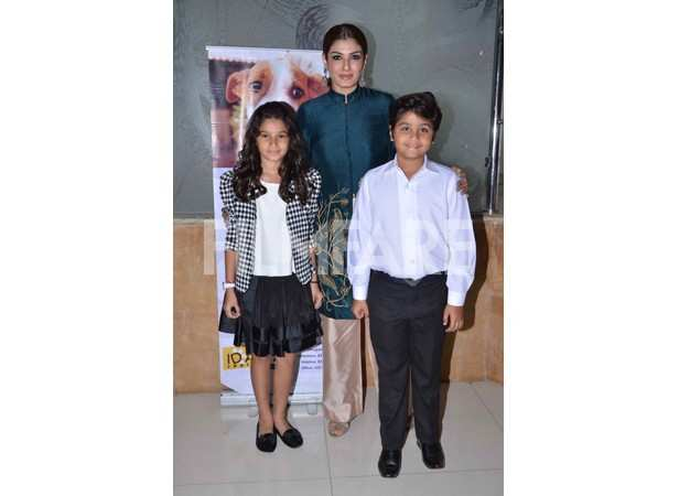 Raveena Tandon with her children Rasha and Ranbirvardhan Thadani