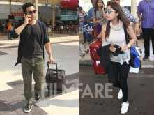 Pulkit Samrat and Yami Gautam clicked at the airport