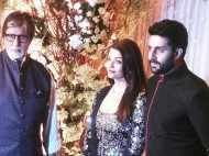 Amitabh, Aishwarya and Abhishek Bachchan at the Bipasha-Karan wedding