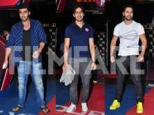 Arjun Kapoor and Ayan Mukerji watch Captain America: Civil War with Varun Dhawan