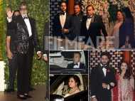 Amitabh Bachchan, Abhishek Bachchan and Aishwarya Rai Bachchan arrive at the Ambani's home in style!