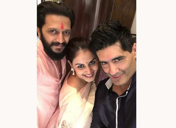 Riteish and Genelia Deshmukh with Manish Malhotra