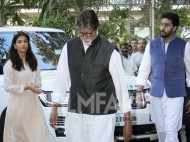 Amitabh Bachchan, Abhishek Bachchan and Aishwarya Rai Bachchan attend late Om Puri's prayer meet